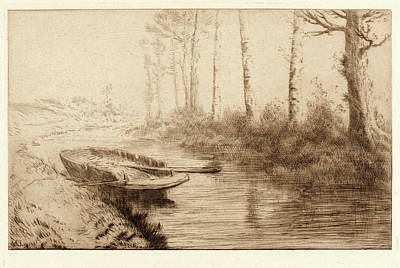 Morning Light Drawing - Alphonse Legros French, 1837 - 1911. The Canal by Litz Collection