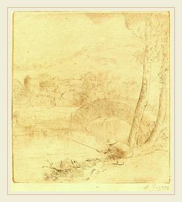 Ligne Drawing - Alphonse Legros, Little Angler Le Petit Pecheur A La Ligne by Litz Collection
