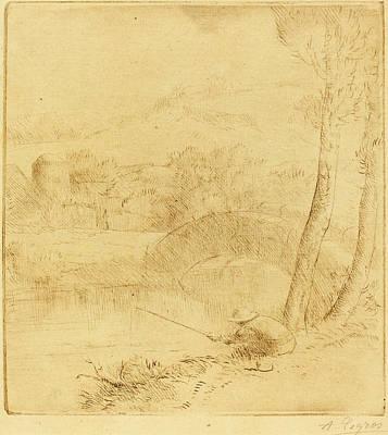 Ligne Drawing - Alphonse Legros, Little Angler Le Petit Pecheur A La Ligne by Quint Lox