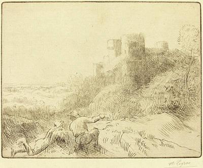 Chateau Drawing - Alphonse Legros, Old Chateau Un Vieux Chateau by Quint Lox