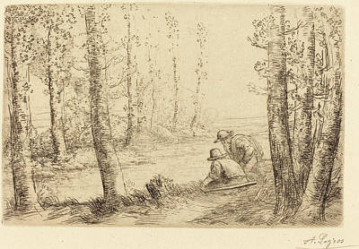 Alphonse Legros, Rest Along The Banks Of The River Repos Au Print by Quint Lox