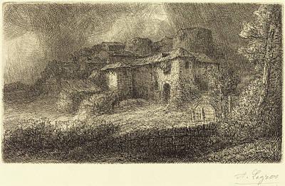 Chateau Drawing - Alphonse Legros, Ruins Of A Chateau Les Ruins Du Chateau by Quint Lox