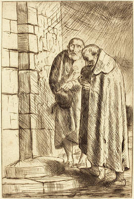 French Door Drawing - Alphonse Legros, Saint Peter And Saint Paul In The Door Of M by Quint Lox