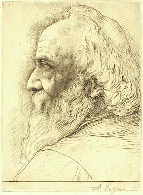 Self-portrait Drawing - Alphonse Legros, Self-portrait, 12th Plate by Litz Collection