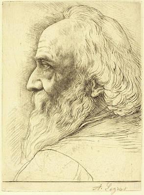 Self-portrait Drawing - Alphonse Legros, Self-portrait, 12th Plate by Quint Lox