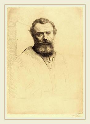 Self-portrait Drawing - Alphonse Legros, Self-portrait, 3rd Plate by Litz Collection