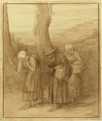 Wash Drawing - Alphonse Legros, The Departure, French, 1837 - 1911 by Quint Lox