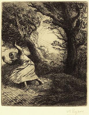 Thunder Drawing - Alphonse Legros, Thunder Un Coup De Foudre by Quint Lox