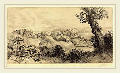 The Hills Drawing - Alphonse Legros, Top Of The Hill Le Haut De La Colline by Litz Collection