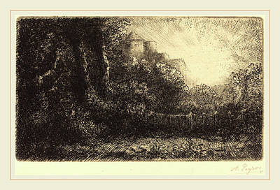Chateau Drawing - Alphonse Legros, View Of A Chateau Chateau De Poillet by Litz Collection