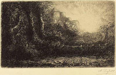 Chateau Drawing - Alphonse Legros, View Of A Chateau Chateau De Poillet by Quint Lox