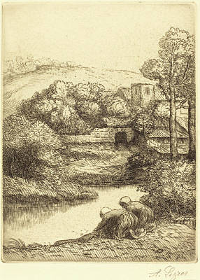 Wash Drawing - Alphonse Legros, Wash-house, Called The Washerwomen Le by Quint Lox
