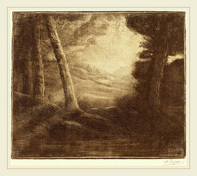 Morning Light Drawing - Alphonse Legros, Waters Edge By Morning Light Au Bord De by Litz Collection