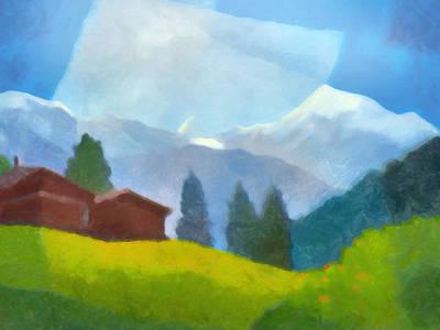 Mountain Scene Painting - Alpin Impression by Lutz Baar