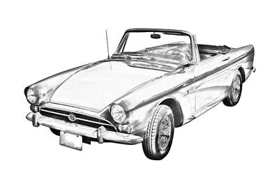 Alpine 5 Sports Car Illustration Art Print