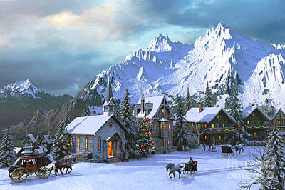 Horse And Carriage Digital Art - Alpine Christmas by Dominic Davison
