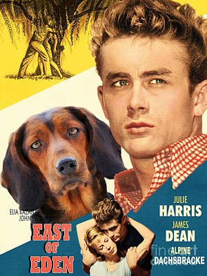 Painting - Alpine Dachsbracke Art Canvas Print - East Of Eden Movie Poster by Sandra Sij