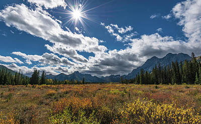 Alpine Meadow In Autumn, Mt. Kidd Art Print by Panoramic Images