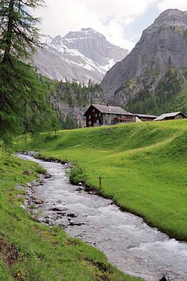 Graubunden Photograph - Alpine Stream And Hut by Michael Szoenyi
