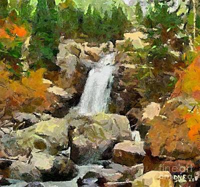 Landscape Painting - Alpine Torrent by Dragica  Micki Fortuna