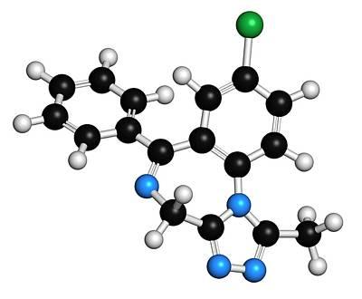 Alprazolam Drug Molecule Art Print by Molekuul