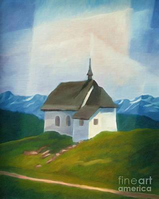 Alps Chapel Art Print by Lutz Baar