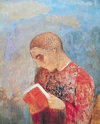 Alsace Painting - Alsace Or Monk Reading by Odilon Redon