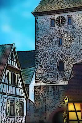 Photograph - Alsatian Village At Night Bergheim by Selke Boris
