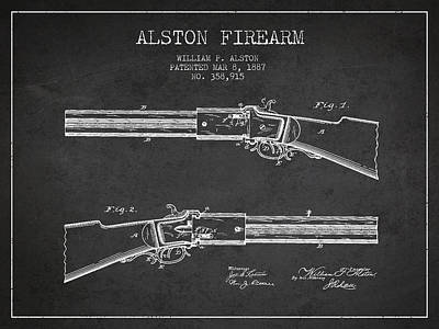 Alston Firearm Patent Drawing From 1887- Dark Art Print by Aged Pixel