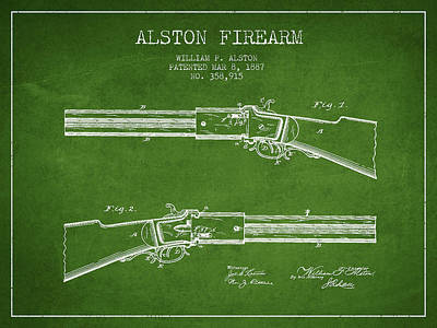Alston Firearm Patent Drawing From 1887- Green Art Print by Aged Pixel