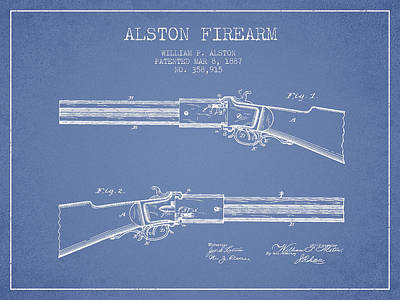 Alston Firearm Patent Drawing From 1887- Light Blue Art Print