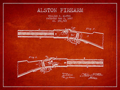 Alston Firearm Patent Drawing From 1887- Red Art Print