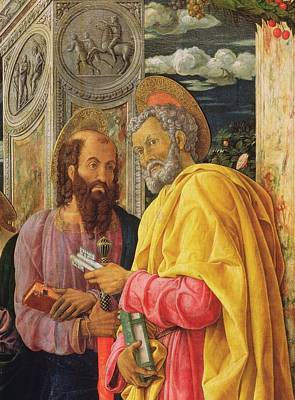 Altarpiece From San Zeno Maggiore, Verona, Detail Of The Left Hand Panel Showing Saint Peter Art Print by Andrea Mantegna