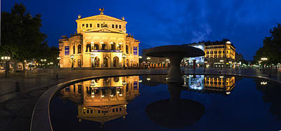Alte Oper Reflecting In Lucae Fountain Art Print by Panoramic Images