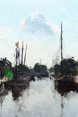 Sipping Painting - Alter Hafen In Weener by Steve K