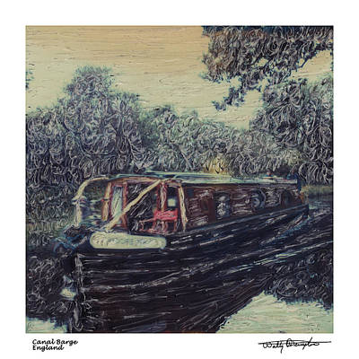 Photograph - Altered Polaroid - Canal Barge 2 by Wally Hampton