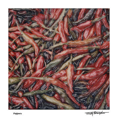Altered Polaroid - Chile Peppers Art Print by Wally Hampton