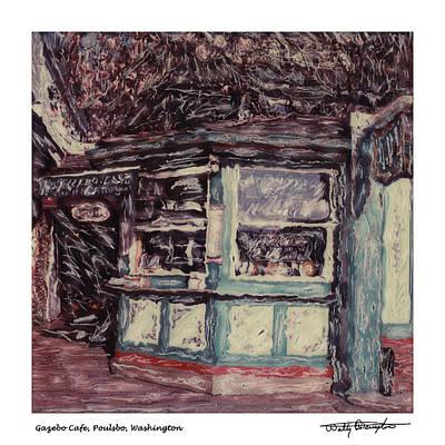 Photograph - Altered Polaroid - Gazebo Cafe Poulsbo by Wally Hampton