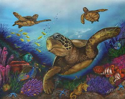 Green Sea Turtle Painting - Alternate Universe by Kathleen Kelly Thompson