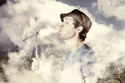Alternative Energy Man With Wind Power Solution Art Print
