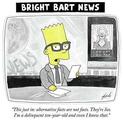 Cartoons Drawing - Alternative Facts Are Not Facts by Tom Toro