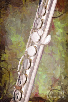 Painting - Alto Flute Music Instrument Painting In Color  3403.02 by M K  Miller
