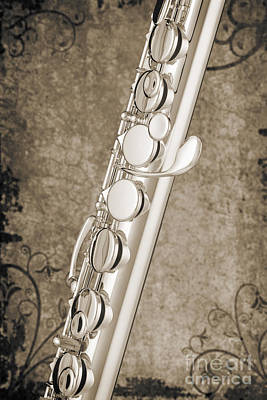 Photograph - Alto Flute Music Instrument Photograph In Sepia  3402.01 by M K Miller