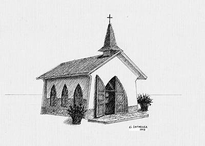 Drawing - Alto Vista Chapel - Aruba by Al Intindola
