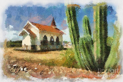 Catholic Digital Art - Alto Vista Chapel Aruba by Amy Cicconi