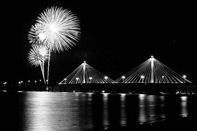 Photograph - Alton Fireworks Black And White by Scott Rackers