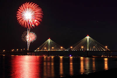 Photograph - Alton Fireworks by Scott Rackers