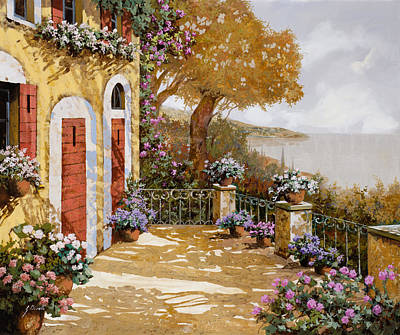 Lake Painting - Altre Porte Rosse by Guido Borelli