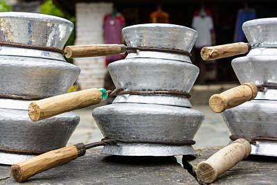 Aluminum Outdoor Photograph - Aluminium Pans In Nepal by Dutourdumonde Photography