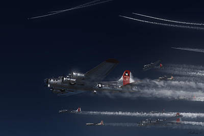 B-17 Wall Art - Painting - Aluminum Overcast Enroute by Hangar B Productions